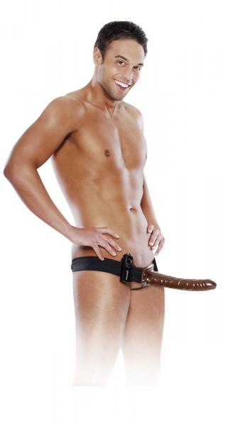 "10""Chocolate Dream Vibrating Hollow Strap-On"