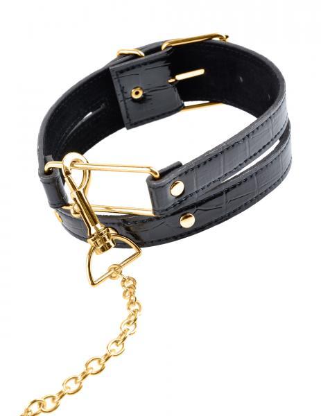 Fetish Fantasy Gold Collar & Leash Black