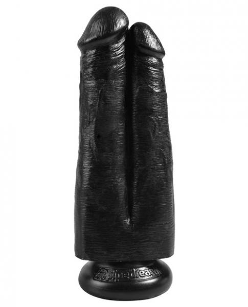 King Cock 7 inches Two Cocks One Hole Black Dildo