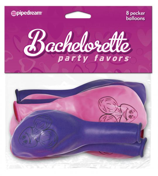 Bachelorette Party Pecker Balloons Pink Purple 8 Pack