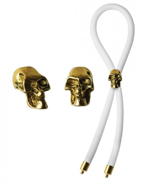 Bolo Silicone Lasso, Gold Skull Slider with Gold Tips White