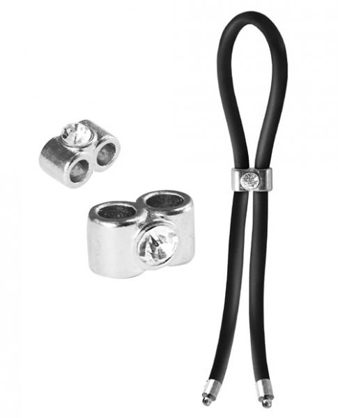 Bolo Lasso Ring Double Barrel Diamond Slider Black