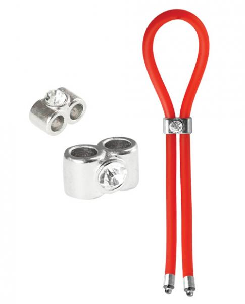 Bolo Lasso Ring Double Barrel Diamond Slider Red