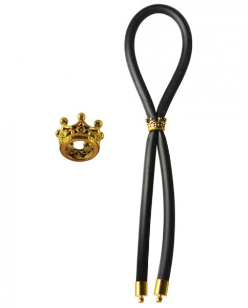 Bolo Silicone Lasso with Gold Crown Slider Ring Black