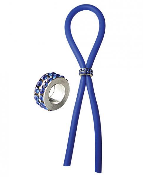 Bolo Lasso Silicone Ring Blue Gems Blue