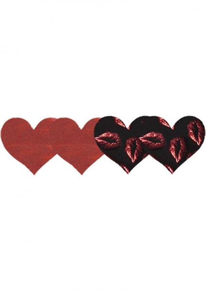 Pure Passion Hearts Pasties Red & Black 2 Pack