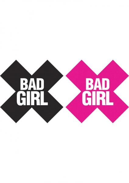 Bad Girl X Pasties 2 Pairs 1 Black, 1 Pink