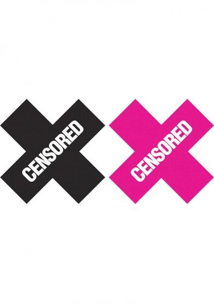 Peekaboos Censored Pasties 2 Pairs 1 Black, 1 Pink