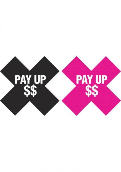 Peekaboos Pay Up Pasties 2 Pairs 1 Black, 1 Pink