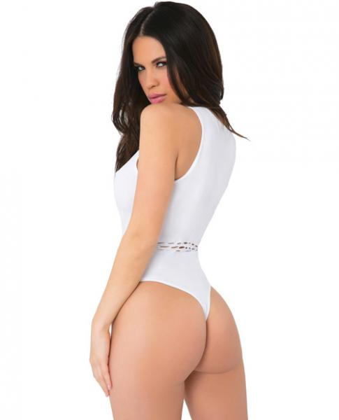 Pink Lipstick High Neck Bodysuit with Cutouts White O/S