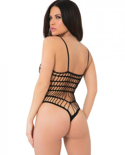 Seamless Open Netting Bodysuit Thin Straps Black O/S