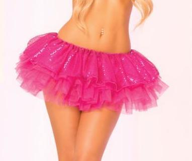 Pink Lipstick Tutu Sequin Skirt - Pink O/S