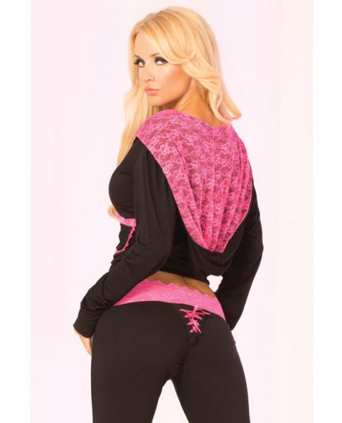 Loungewear Lace Trim Cropped Hoodie - Black Lg