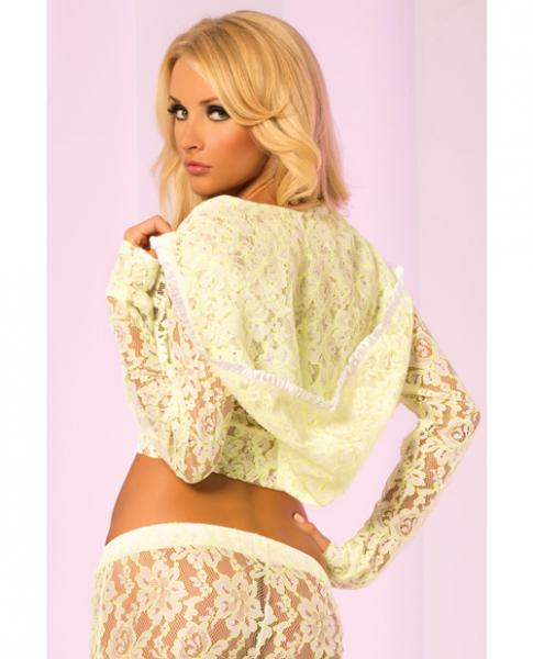 Loungwear Lace Cropped Hoodie Top Green Sm