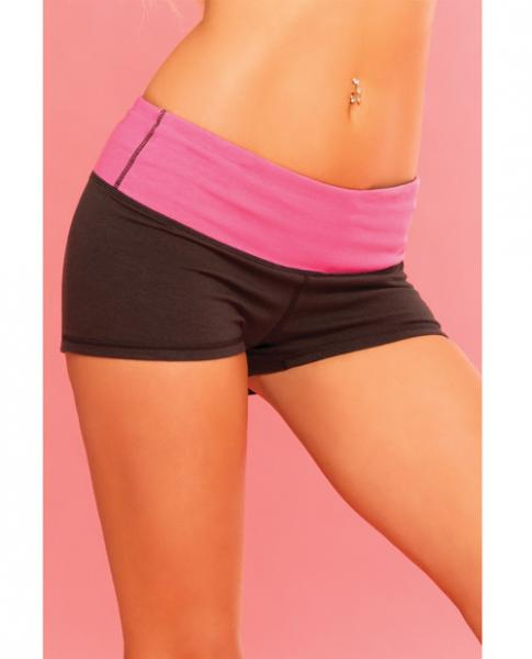 Pink Lipstick Sweat Yoga Short Thick Revrsible For Supprt & Compression W/scret Pcket Black Lg