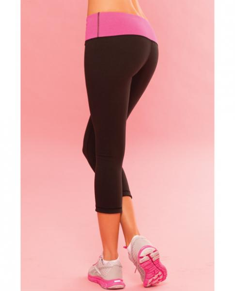 Pink Lipstick Sweat Thick Reversible Yoga Pant W/secret Pocket - Black Lg
