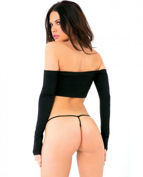 Pink Lipstick Seamless Long Sleeve Tube Top & G-String Black O/S