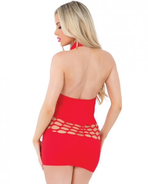 Pink Lipstick High Neck Seamless Dress Red O/S