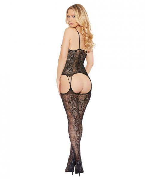 Printed Cami Top Attached Thigh High Bodystocking Black O/S