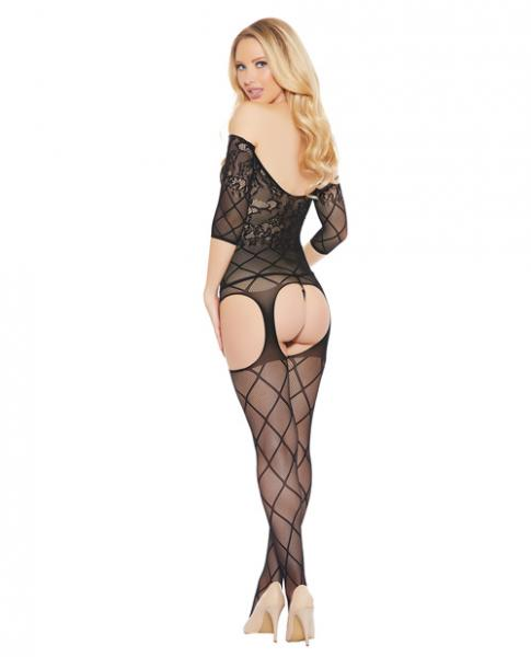 Off The Shoulder Bodystocking Floral, Diamond Pattern Black O/S