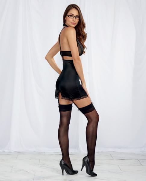 Halter Bralette, Garter Skirt, Suspenders, Garters, Tie & Glasses Black O/S