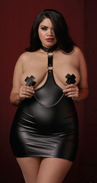 Faux Leather Harness Chemise Collar & Nipple Clamps Black Qn