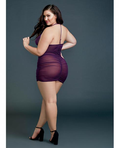 Ruched Front Zipper Chemise with G-String Plum Qn