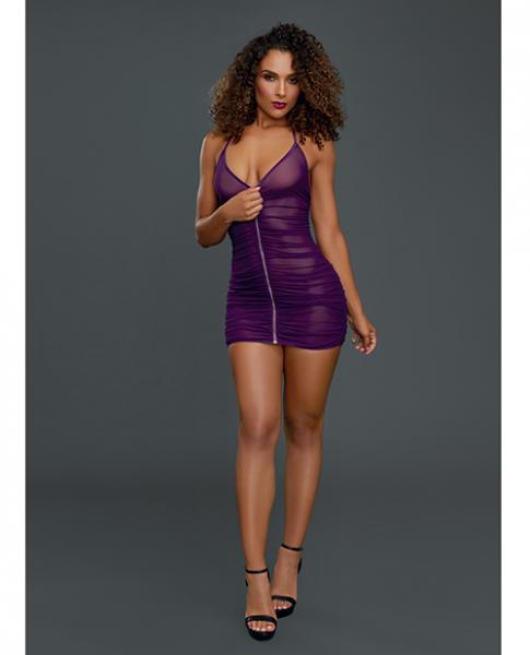 Ruched Front Zipper Chemise with G-String Plum O/S