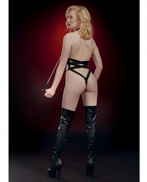 Fetish Open Breast Collared Teddy with Leash Black O/S