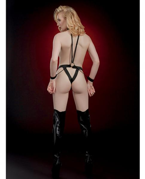 Fetish Open Body Teddy, Pasties & Restraints Black O/S