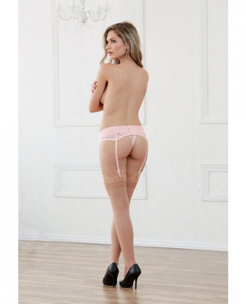 Lace Garter Belt Scalloped Hem Vintage Pink O/S