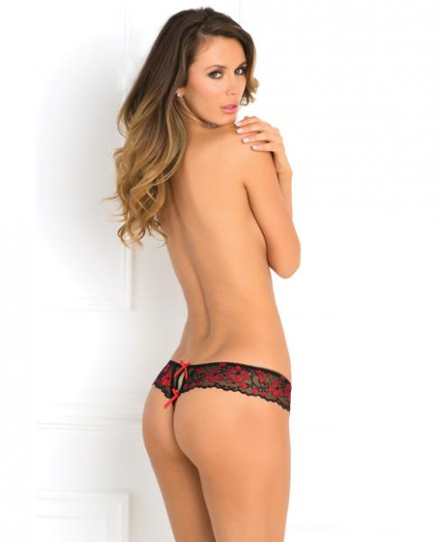 Rene Rofe Crotchless Lace Thong Panty Red M/L