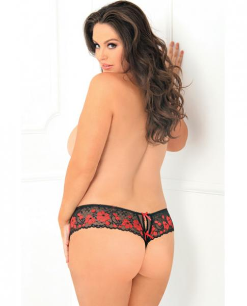 Rene Rofe Crotchless Lace Thong with Bows Red 1X/2X