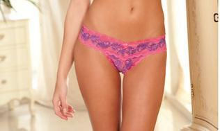 Rene Rofe Crotchless Lace V-Thong - Pink S/M