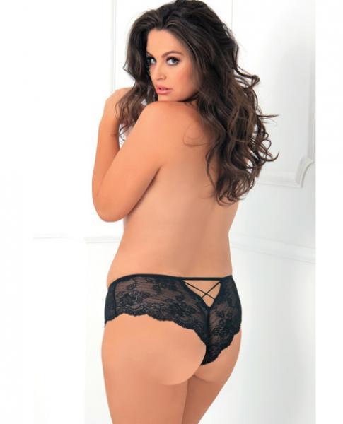 Rene Rofe Deep V Crotchless Panty Black 1X/2X