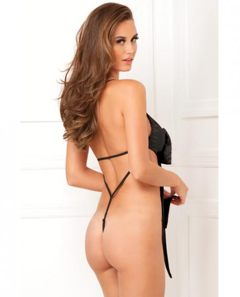 Unwrap Me One Piece Satin Bow Teddy Black M/L