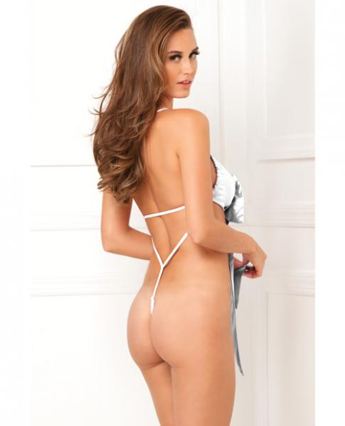 Unwrap Me One Piece Satin Bow Teddy White M/L