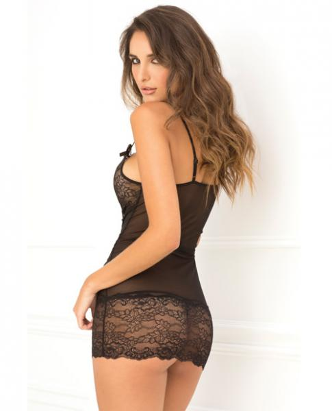 Lace Front Chemise & G-String Set Black S/M