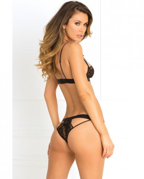 Rene Rofe Hot Harness Bra & Panty Black S/M