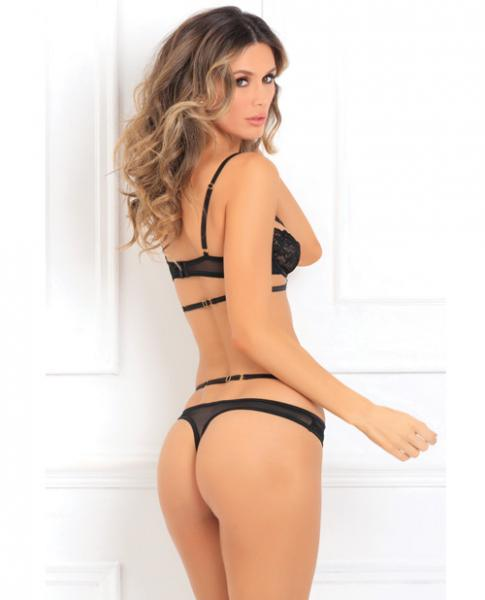 Hot Lust Strappy Bra & Panty Black M/L