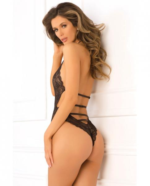 Rene Rofe Strap Back Lace Teddy Black S/M