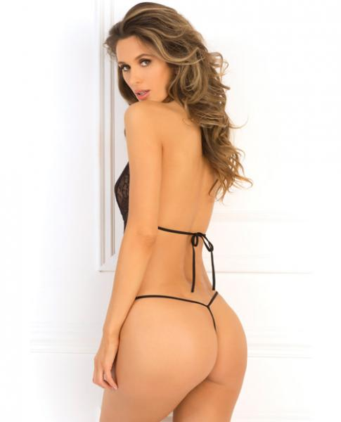 Rene Rofe Crotchless Mesh & Lace Teddy Black M/L