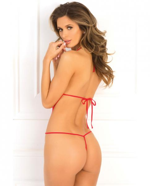 Rene Rofe Crotchless Mesh & Lace Teddy Red M/L
