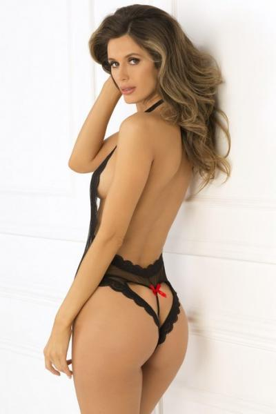Rene Rofe Open Back Lace & Net Teddy Black S/M
