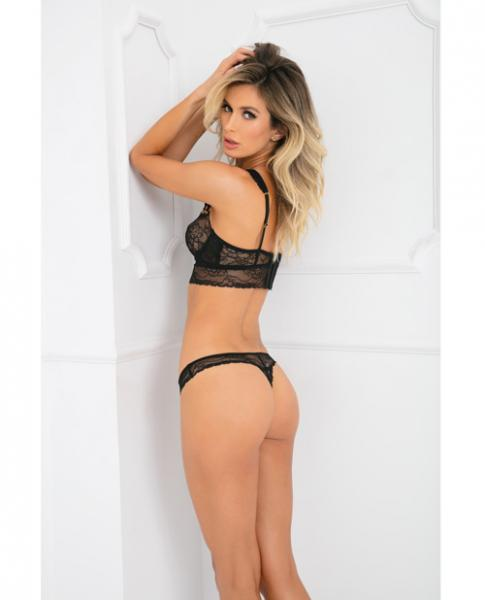 Rene Rofe Flawless Lace Bra & Panty Set Black M/L
