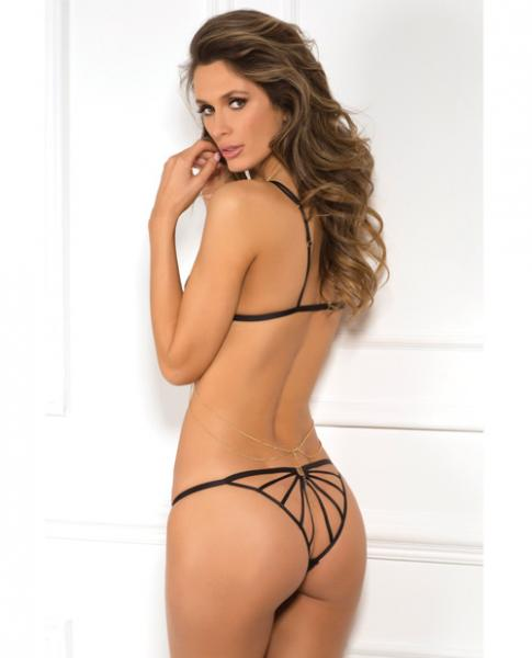 Rene Rofe Lace Bra & Panty Chain Harness Black S/M
