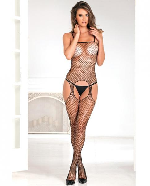 Industrial Net Suspender Bodystocking Black O/S