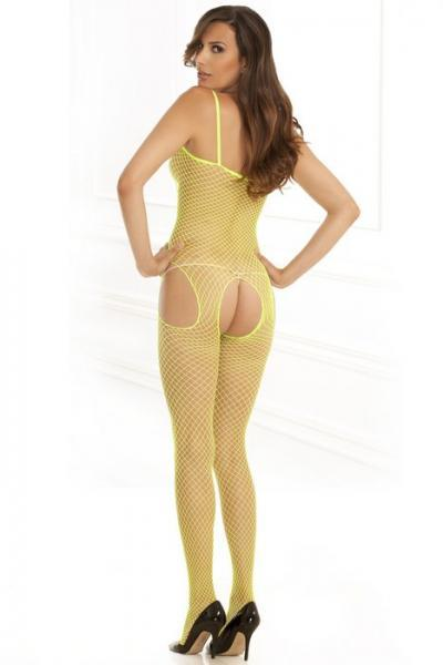 Industrial Net Suspender Bodystocking Lime Green O/S