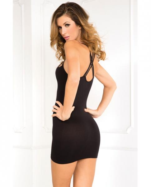 Exotic Plunge Dress Black M/L