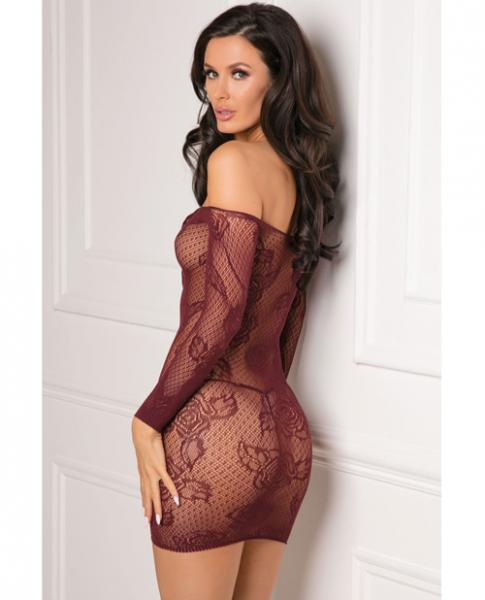 Rene Rofe Tie Breaker Long Sleeve Dress Burgundy O/S